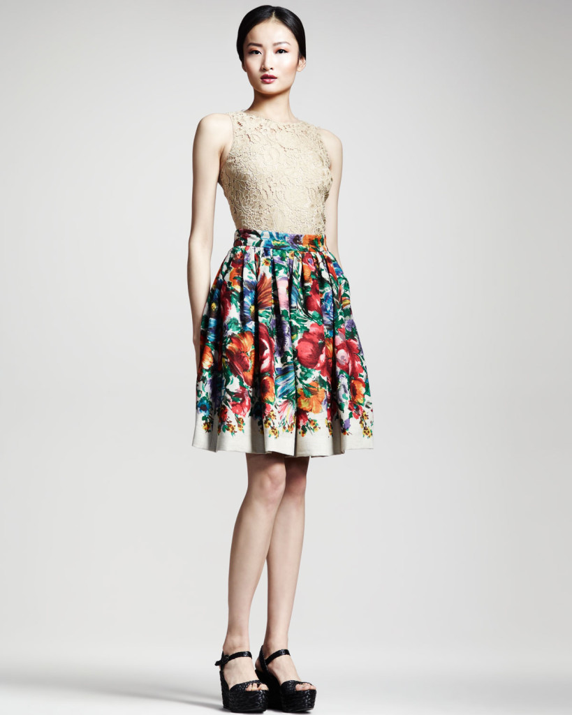 Dolce-Gabbana-Sleeveless-Lace-Top-Floral-Print-Linen-Skirt