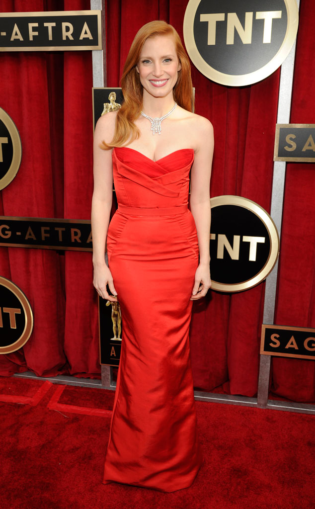 jessica chastain_red hair_red _dress