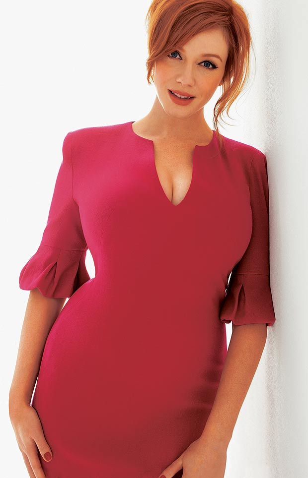 christina Hendricks_red hair_Pink+dress