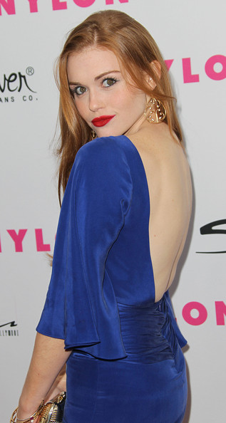 Holland Roden at Nylon Magazine Anniversary Party Red Carpet in BLUE Dress