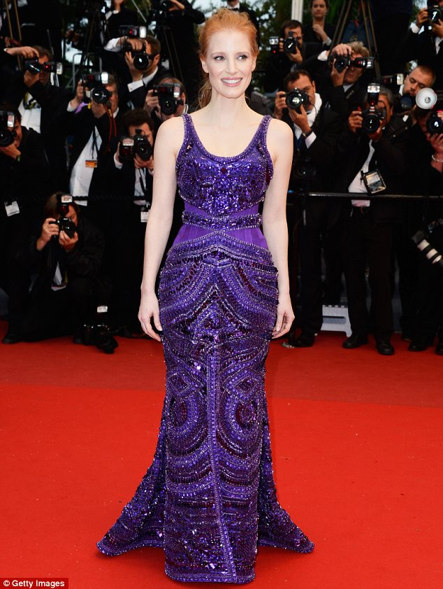jessica chastain_red hair_purple gown