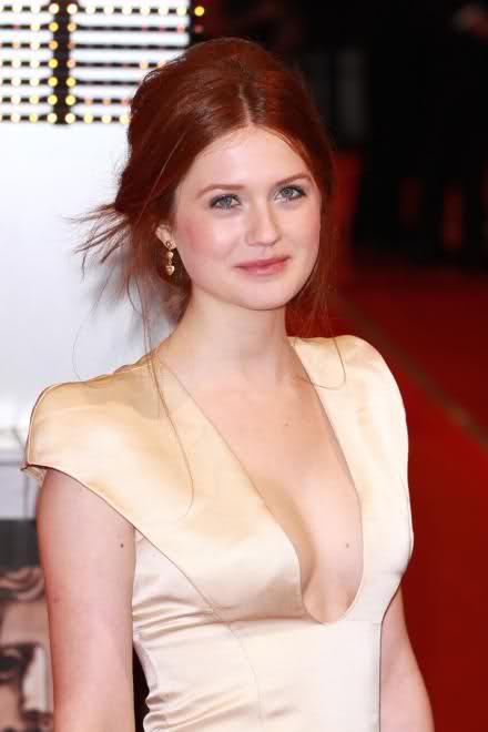 bonnie wright_red hair_golden_dress
