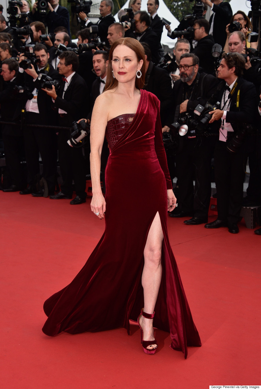 CANNES, FRANCE - MAY 14: Julianne Moore _red hair_red dress