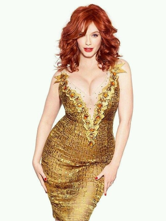 christina Hendricks_red hair_golden dress