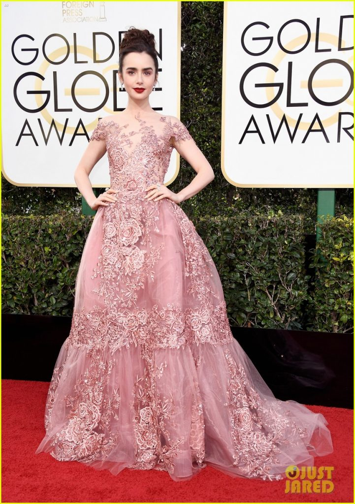 Lily_ Collins_ wearing_Zuhair Murad_gown_at_golden_globes_2017=Best dressed celebrities