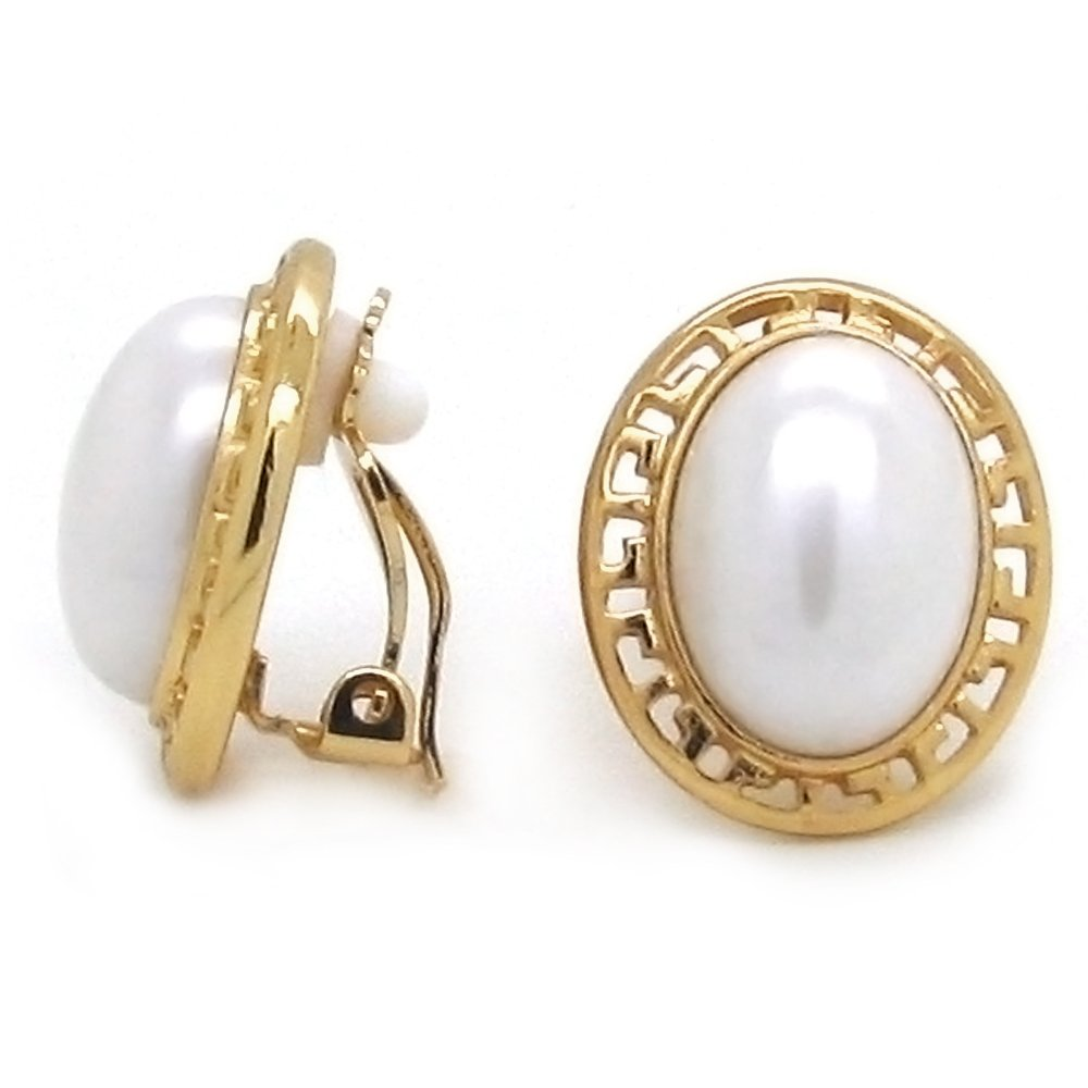 clip-on earrings-pearls-greek-motif